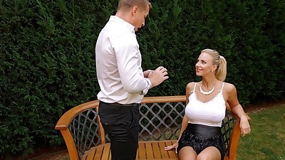 Filthy busty blonde girl gets her..