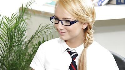 Salacious schoolgirl in glasses..