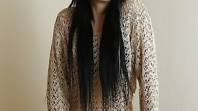 Teen chick with long dark hair..