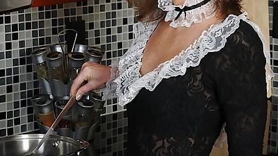 Naughty mature maid undressing..