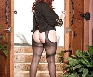 Chesty redhead fatty Vanessa Y spreading hairy pussy in..