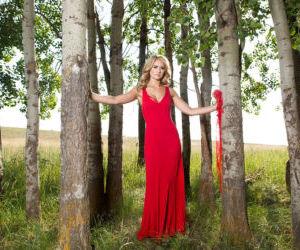 Blonde pornstar Maya Rose undressing in forest for nude..