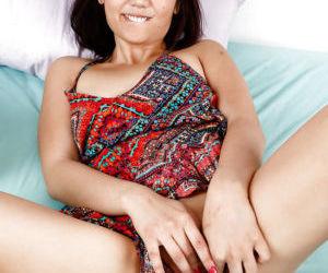 Barefoot amateur Asian lady Miko Dai petting hairy..