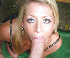 Sweet blonde Ginger Spice is giving a spicy deep blowjob..