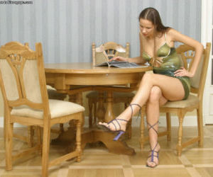 Superb amateur Anya is posing in her sweet high heels and..