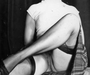 Beautiful vintage models posing in stockings and garters..