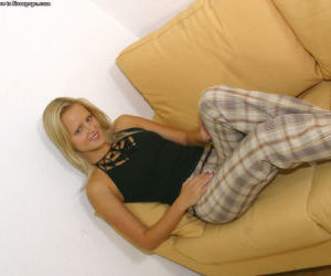 Superb blondie Monika is showing her marvelous panties on..