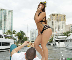 Teen first timer Kelsi Monroe heads out on yacht for her..
