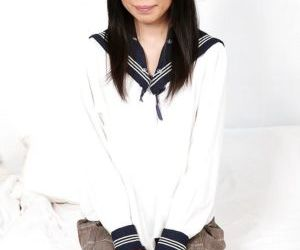 Smiley asian schoolgirl toying her love holes and exposing..