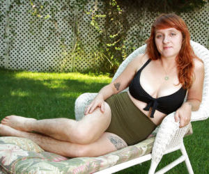 Mature redhead Velma with extremely hairy legs- pussy and..