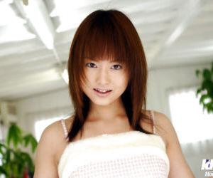 Foxy asian teen babe Akiho Yoshizawa uncovering her..