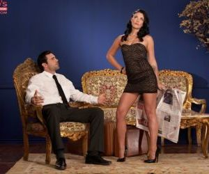 Dark haired female Andy San Dimas seduces a man in a short..