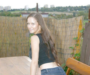 Awesome country girl babe Lucie is a brunette with huge..