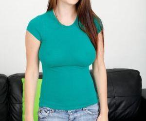 Charming brunette babe Dillion Carter showing off her huge..