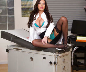 European babe Nikki Benz posing fully clothed in nylons-..