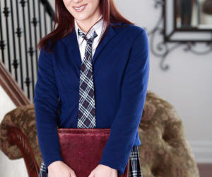 Amateur solo girl Aubrey Holiday sheds schoolgirl outfit..