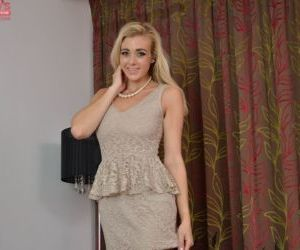 Amateur teen blonde Sapphire Blue is lying naked on the..