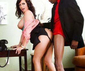 Big boobed boss woman Tory Lane using black employee as..