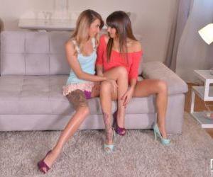 European lesbian babes Katrin Tequila and Suzy Rainbow..