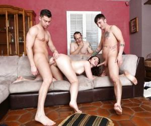 Amazing brunette Jodi Taylor is getting gangbanged by 3..