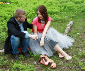 European redhead Mila Snow giving outdoor bj before..
