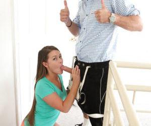 Sweet teen pornstar Abby Cross sucks dick in hot short pants