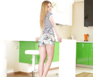 18 years old Markiza spreads her thighs to reveal glorious..