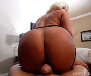 Thick blonde female Alura Jenson spits out cum after..
