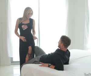 Hot blonde chick Brett Rossi getting banged in bathroom..