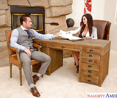 Brunette wife Kendall Karson taking cumshot in mouth in office