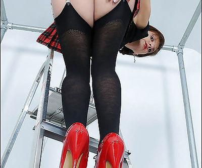 Hot ass mature lassie in stockings and miniskirt flashing her white panties - part 2