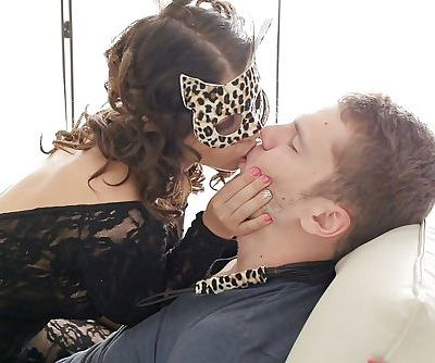 Brunette chick Alice Smack toying twat in mask and crotchless bodystocking