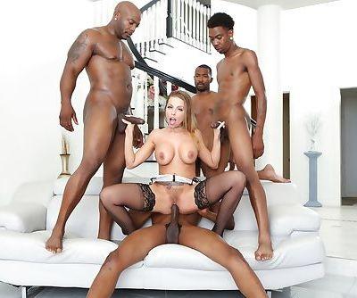 Blonde slut Britney Amber enjoying DP & cum drenching in interracial blowbang
