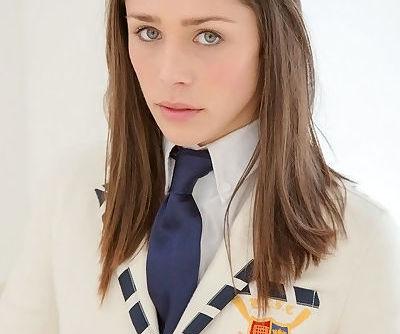 Amazingly lovely teen Anastasia Morna slipping off her school uniform