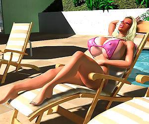 Pornstar 3d sexy busty blonde in bikini sunbathing..