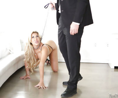 Blonde mom Savana Styles led on leash for hardcore BDSM sex and cumshot