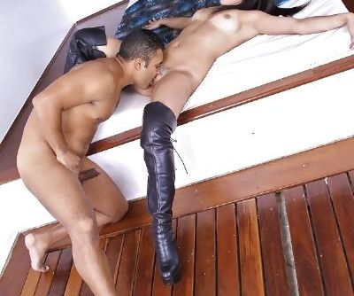 Brunette Latina Gyselle Byttencourt gets ate out and fucked in stripper boots