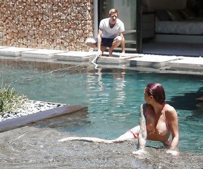 Tattooed MILF pornstar Monique Alexander sucks off big dick in pool and inside