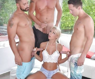 Gorgeous blonde slut Chloue Lacourt getting gangbanged outdoors