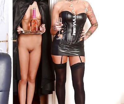 Submissive fetish cutie has some lesbian fun with her tattooed mistress