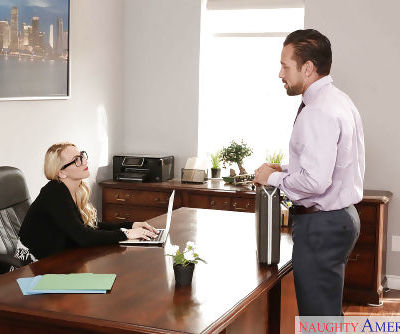 Glasses topped pornstar AJ Applegate having hardcore sex on office desk