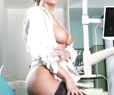 Seducing European babe in doctors uniform Candy Alexa does good job - part 2